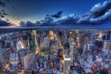Fototapete - New York by night.