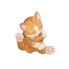014 Katzenbaby Kitten putzen Zunge Baby