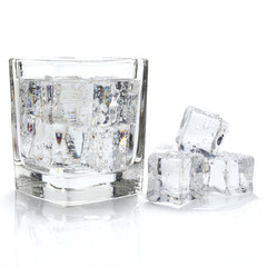 single glass of water and ice on white space