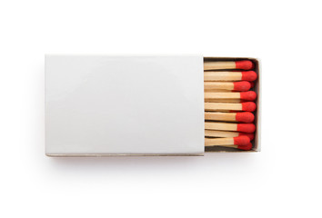 top view matchbox on white