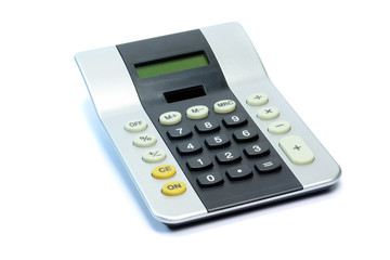 A large solar powered calculator on a white background