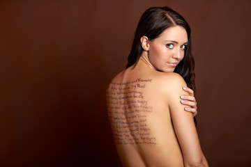 text on back of a beautiful girl