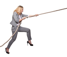 woman pull the rope
