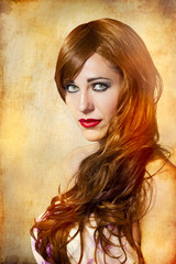 sensual woman with long red hair