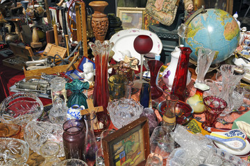Bric a brac and antiques for sale at Aachen flea market