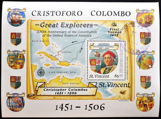 Christopher Columbus and map of the Antilles
