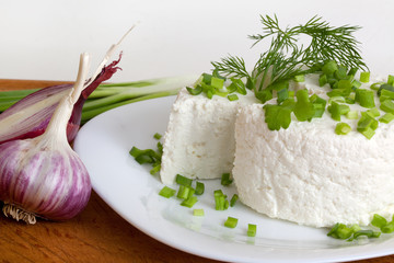 cottage cheese with greens and onions on a plate