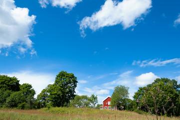 Schwedisches Idyll mit rotem Holzhaus