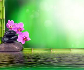 Printed roller blinds Orchid Stillleben aus Bambus, Orchidee und Steinen
