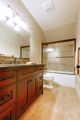 Nice bathroom with wood luxury cabinet.