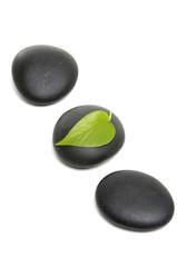 zen stones and fresh leaf