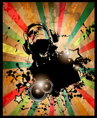 Club party flyer for music event and promotional posters.