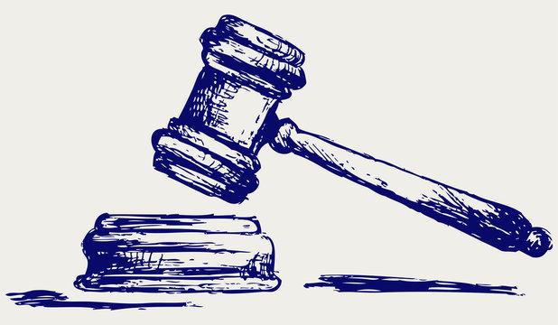Judge gavel sketch