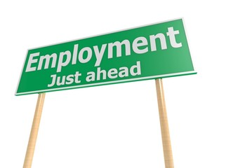 Street sign with employment word