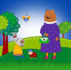 Rabbit, Bear and Ladybug
