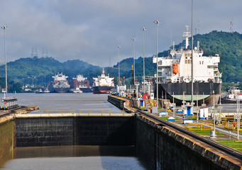 Ship passes through the Panama Channel Locks