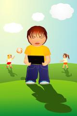 Kind spielt Video Spiel
