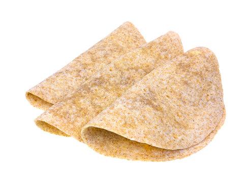 Folded whole wheat tortillas