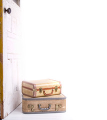 two vintage suitcases