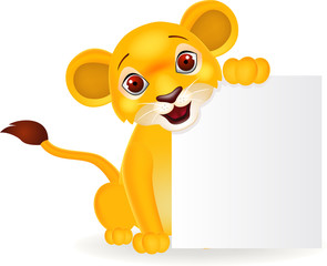 Baby lion cartoon with blank sign
