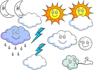 Cartoon Weather Symbols Raster Collection