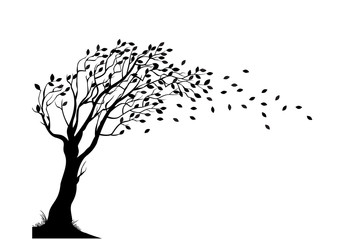 Silhouette of an autumn tree with leaves falling Vector   Free ...