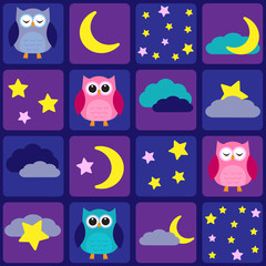 Night sky with owls. Seamless vector