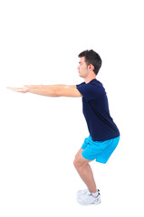 Young man doing exercise on white