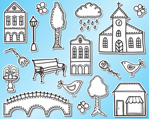 Papiers peints Doodle Town or city design elements