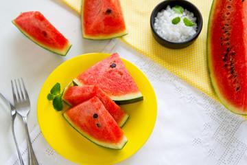 Watermelon with salt