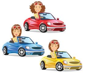 Cadres-photo bureau Voitures enfants Women Driving Convertible