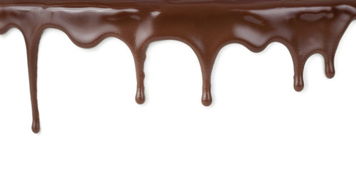 Foto op Plexiglas Chocolade chocolate streams isolated on white
