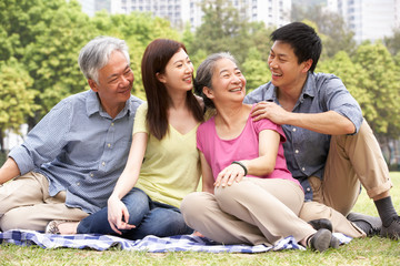 Portrait Of Chinese Parents With Adult Children Relaxing In Park