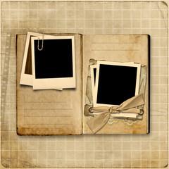 Vintage Photo Album with stack of old polaroid frame