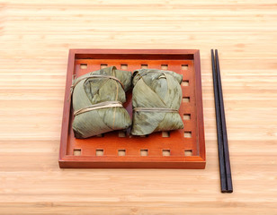 Chinese rice dumplings (zongzi) wrapped in bamboo