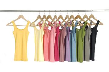 Set of colorful shirt rack