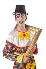 Sad clown on the white