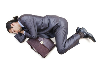 Dead businessman on the floor