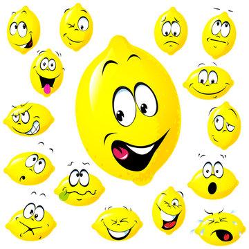 lemon cartoon with many facial