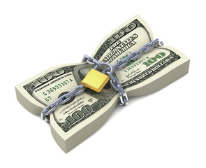 Dollar stack tied by chains