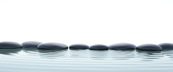 Fototapete - Zen stones in water on widescreen