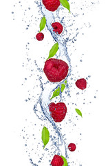 Foto op Canvas Opspattend water Fresh raspberries falling in water splash