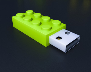 Wall Mural - 3D usb lego flash device
