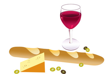 Baguette,  cheese & wine