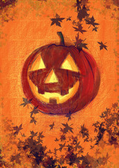 hand-drawn picture to the Halloween theme: pumpkin