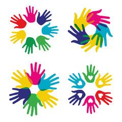 Multicolor diversity hands set