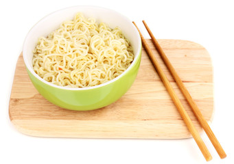 asian noodles in bowl on wooden board isolated on white