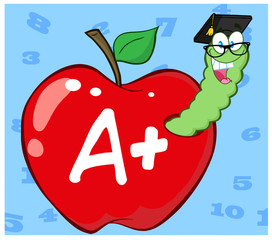 Worm In Red Apple With Graduate Cap And Glasses