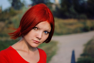 red hair and heterochromic eyes