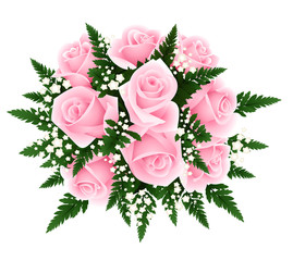 Bouquet of pink roses with fern and gypsophila. Vector.
